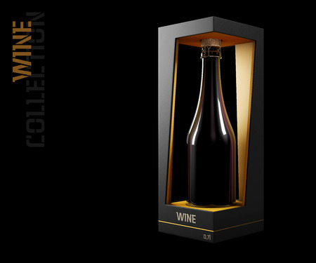 3d Illustration of Wine Bottle Design and Packaging. Stock Photo