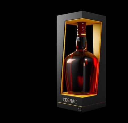 3d Illustration of Cognac Bottle Design and Packaging.