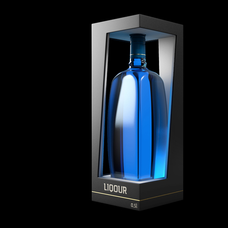 3d Illustration of Liquor Bottle Design and Packaging.