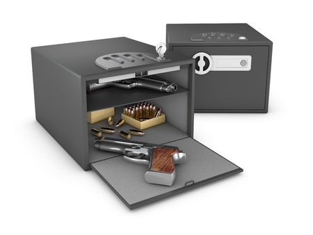 3D Illustration of Metal Safe Realistic with pistols and bullets On Background. Stok Fotoğraf
