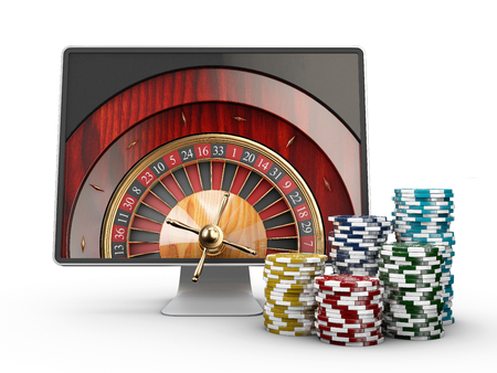 3d illustration of Monitor with casino roulette wheel on screen. Gambling app concepts, isolated white.