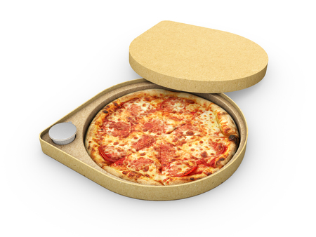 3d illustration of Pizza in a cardboard box against a white background, Pizza delivery