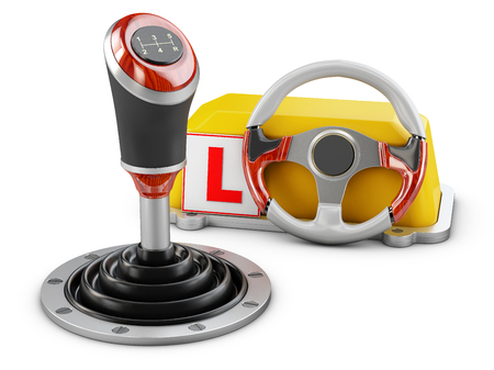 3d illustration of gearshift with drive school schild, isolated on white Фото со стока