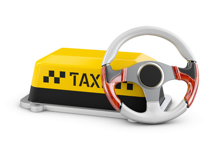 3d Illustration of steering wheel and Shield taxi isolated white background