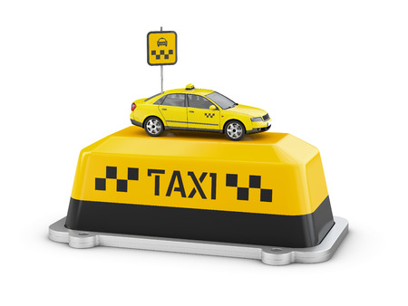 3d Illustration of taxi car on the Shield taxi isolated white background