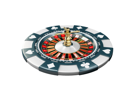 3d Illustration of casino chip with roulette, isolat white background