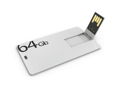 Blank white plastic usb card mockup, 3d Illustration. Visiting flash drive namecard mock up.