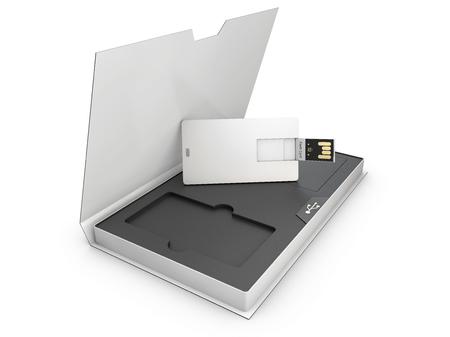 Blank white plastic usb card mockup in the box, 3d Illustration