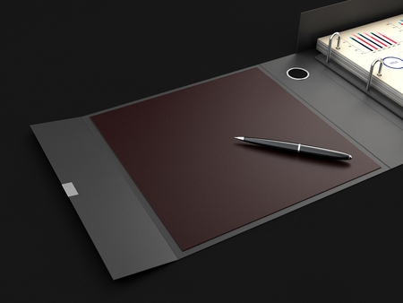 Ring binder folder with pen, 3d Illustration. Office cardboard folder branding presentation.