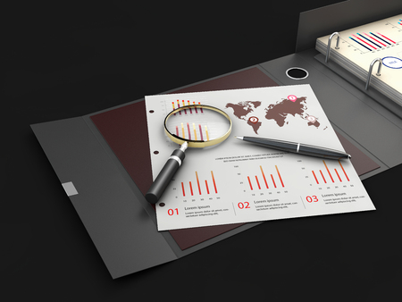 Ring binder folder with charts, 3d Illustration. Office cardboard folder branding presentation.