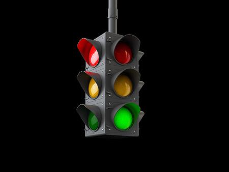 Ilustración 3d de semáforos aislado en negro. Foto de archivo