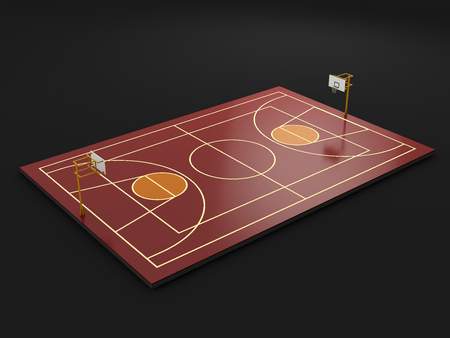 basketball court, baseline Outdoor 3d illustration isolated black.