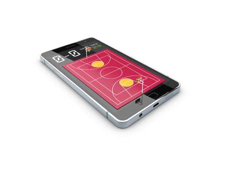 Smartphone with basketball ball and field on the screen. Sports theme and applications. 3d illustration.