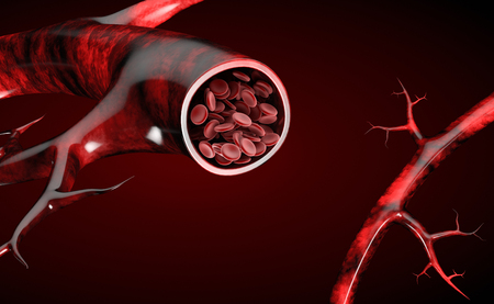 3d Illustration of red blood cells in vein Imagens