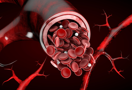 Normal artery red blood flow realistic 3d illustration isolated background.
