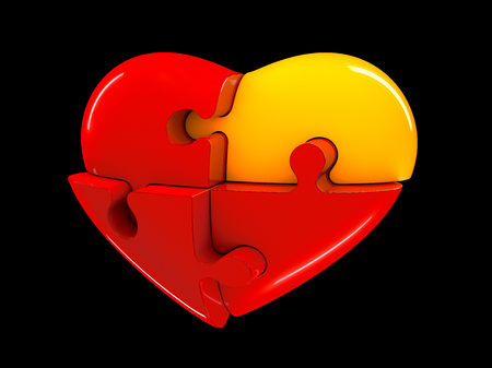Red and yellow jigsaw puzzle heart diagram 3d illustration isolated on black background