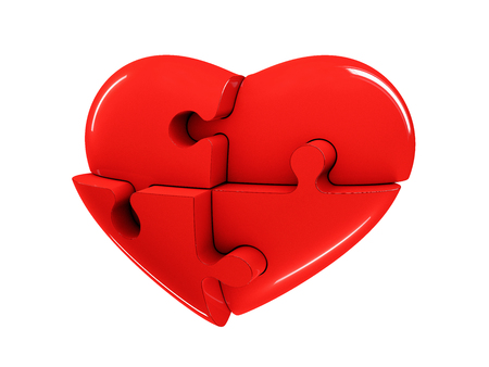 Red jigsaw puzzle heart diagram 3d illustration isolated on white background