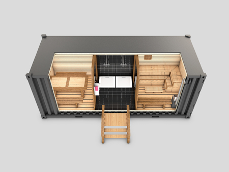 Converted old shipping container into sauna, 3d Illustration isolated gray.