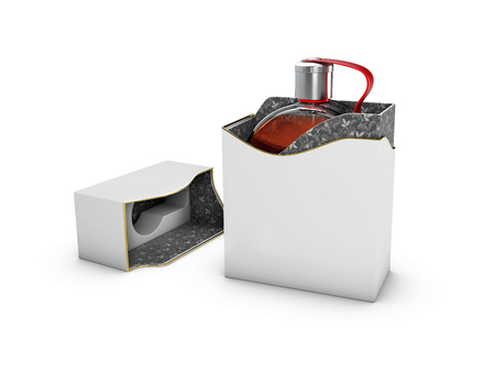 Perfume bottle in black and white box on white background. Concept of new scent promotion. 3d rendering.