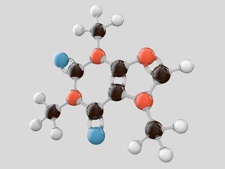 3d Illustration of Caffeine molecular model isolated grey background. Standard-Bild - 116451816