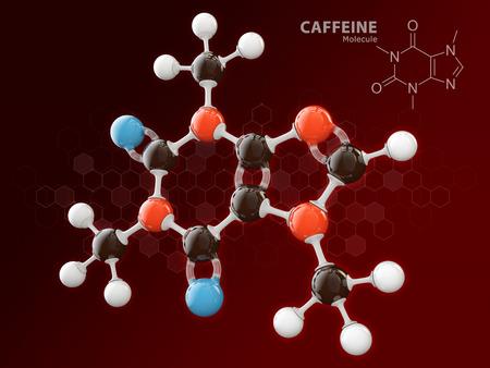 3d Illustration of Caffeine molecular model isolated red. Imagens