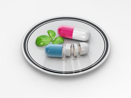 Vitamins supplements as a capsule 3D illustration elements.