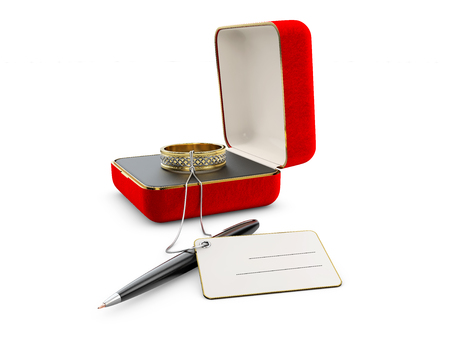3d Illustration of red jewelry box with ring isolated on white Imagens