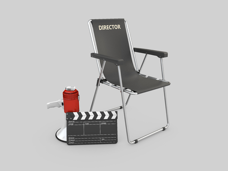 3d Illustration of movie director chair with clapperboard and megaphone Stockfoto