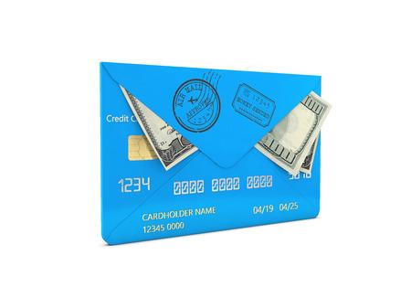3d Illustration of Hundred dollar bills in a envelope, money transfer concept.