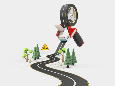 Curved road with white markings and tape dispenser. 3d illustration