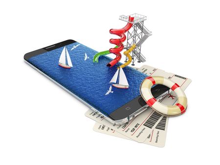 3d illustration of smartphone with tickets, On-line Travel Concept Banque d'images - 119693330