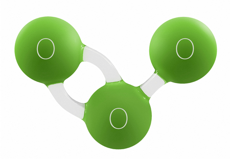 3d Illustration of green ozone molecule isolated on white