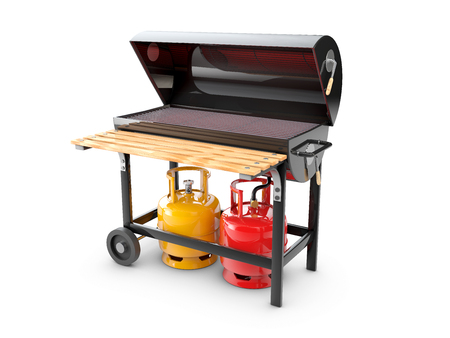 3d Illustration of a stainless steel gas barbeque or grill.