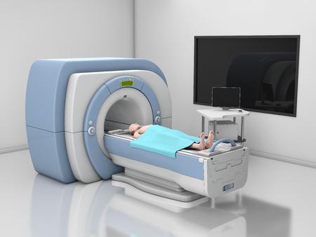 MRI Scanner. Magnetic Resonance Imaging of body. Medicine diagnostic Concept 3d Illustration