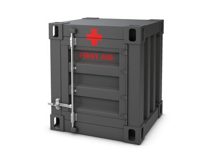 3D illustration of first aids container cabinet isolated white