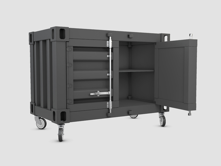 3D illustration of container cabinet isolated white Stock Photo