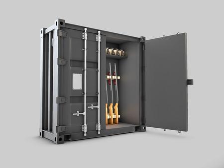 Cassaforte per armi sotto forma di contenitore su sfondo grigio