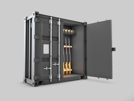 Gun safe in the form of a container on gray background