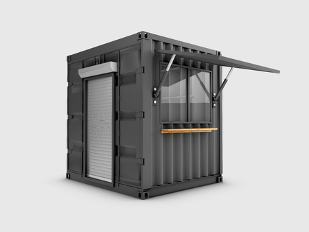 Converted old shipping container into cafe, 3d Illustration isolated gray