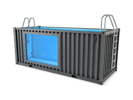 3d Illustration of Converted old shipping container into swimming pool, isolated white