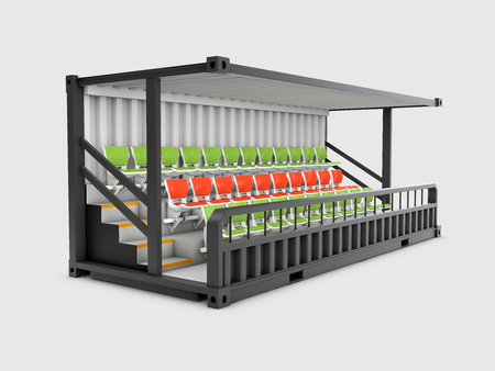 3d Illustration of Converted old shipping container into grandstand, isolated gray Stock Photo