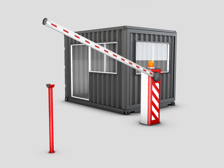 3d Illustration of Converted old shipping container into checkpoint, isolated white
