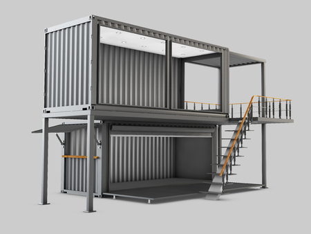 3d Illustration of Converted old shipping container into cafe, isolated gray