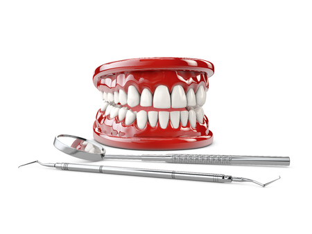 White healthy perfect teeth plastic model. Dental health 3d illustration Stock Photo