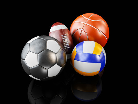 3d Illustration of Realistic sports balls, isolated black