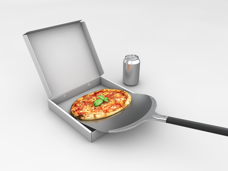 3d illustration of Pizza in a cardboard box, Pizza delivery. Pizza menu.