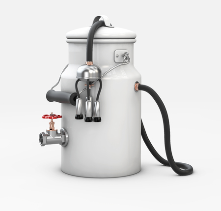 3d Illustration of milk pot with milking unit on white background
