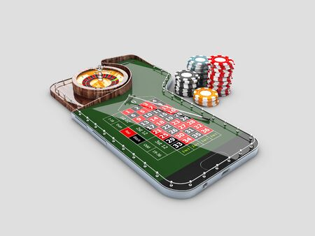 3d Illustration of realistic casino roulette table, on the phone screen. Casino online concept 스톡 콘텐츠