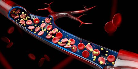 3d Illustration of calcium level in the blood vein Stock Photo