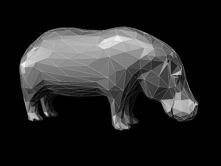 3D Illustration of low poly style hippo